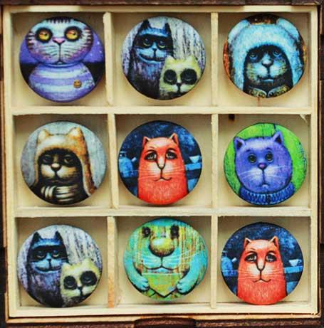 Пуговицы CATS - подарок с АРТ принтами на ткани. Магазин пуговиц GOODzyky.