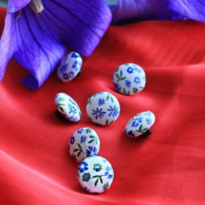 Рубашечные, блузочные пуговицы из ткани на заказ. Цветочный принт, Итаия. Магазин пуговиц GOODzyky.