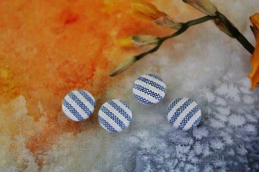 Пуговицы детские тканевые в полоску. Тканевые рубашечные маленькие 11 мм.