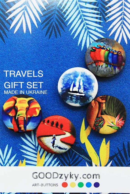 Пуговицы TRAVELS - подарочная открытка - серия открыток для рукодельницы.