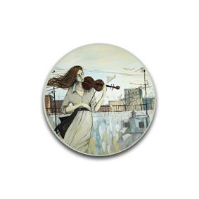 Девушка скрипачка - пуговицы и броши от художника - Ирины Петровской.